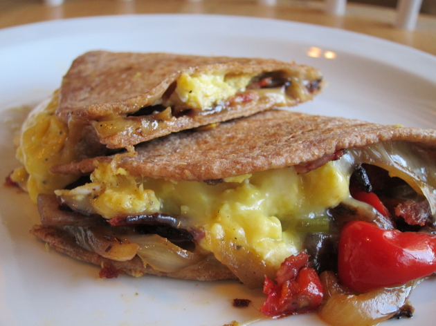 {turkey bacon and veggie breakfast quesadilla}