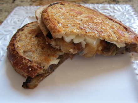 {brie & caramelized onion grilled cheese}
