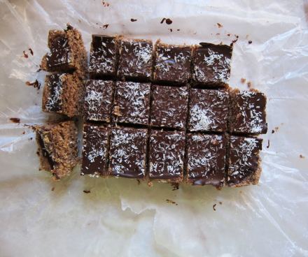 {chocolate coconut protein bars}