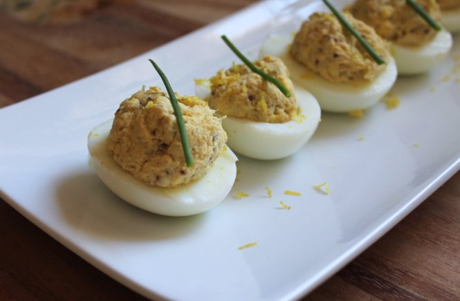 tuna and caper deviled eggs