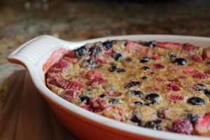 coconut sugar sweetened berry clafoutis